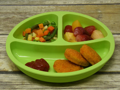 Salbree Divided Toddler Plates Set - Green, Light blue, Aqua, Gray - salbree.com