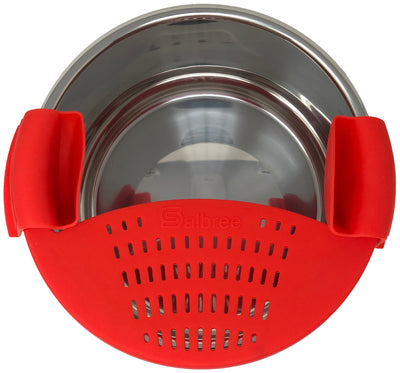Salbree Silicone Clip N Strain, Vegetable and Ground Beef Grease Strainer for Instant Pot - Red 6 Qt - salbree.com