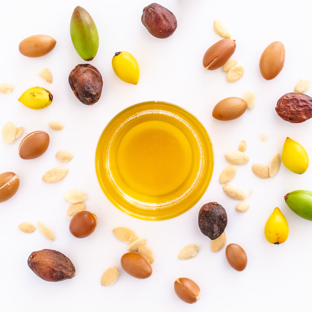 Gluten free, dairy free, vegan, all natural, culinary argan oil in a glass with argan fruit, kernels and nuts surrounding
