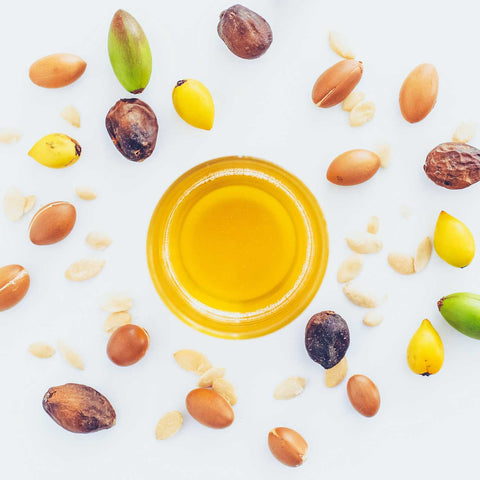 Culinary argan oil in a glass cup birds eye view