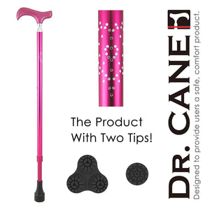 [DR. CANE] All-Terrain Adjustable Telescopic Cane w/ Cushioning System - DIAMOND HEART Design