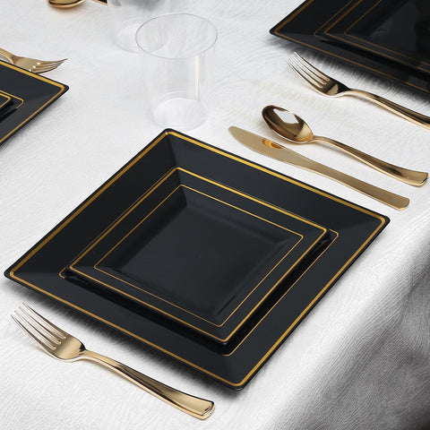 Black with Gold Square Edge Rim Collection