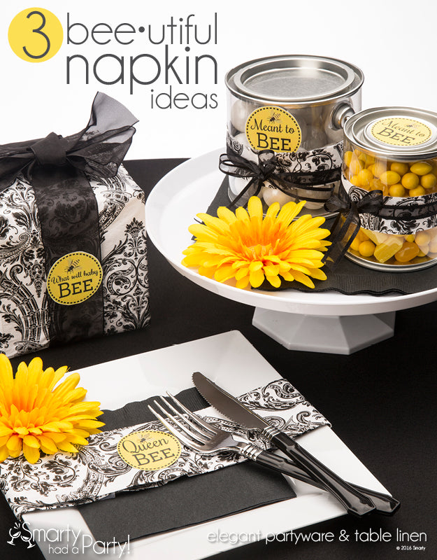 3 Bee-utiful Napkin Ideas | www.SmartyHadAParty.com