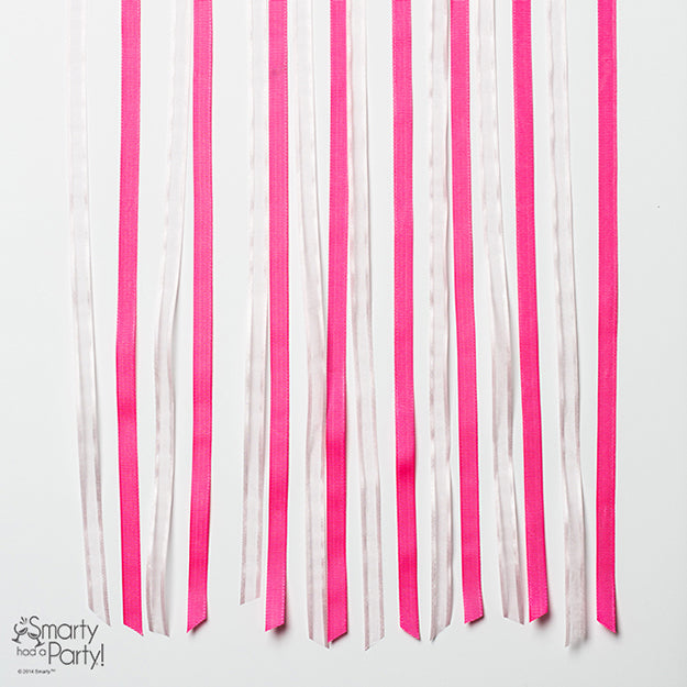 Pink ribbons for corset chair decor | Smarty Had A Party