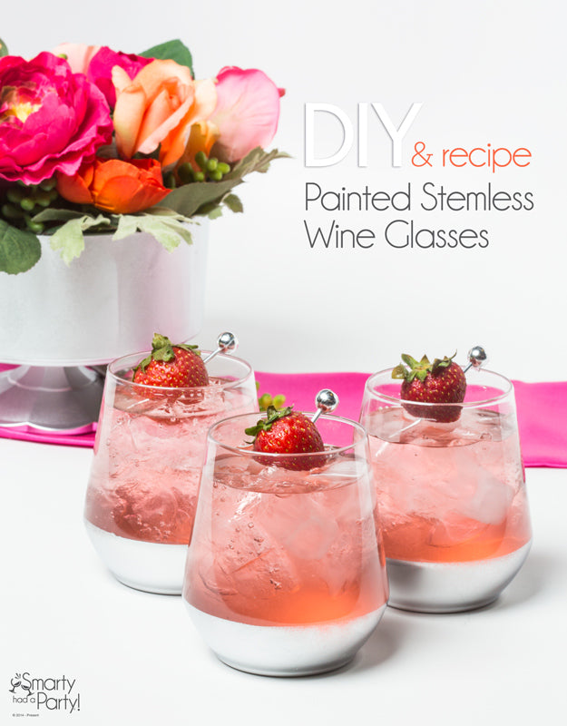 DIY Painted Stemless Wine Glasses + cocktail recipe! | SmartyHadAParty.com