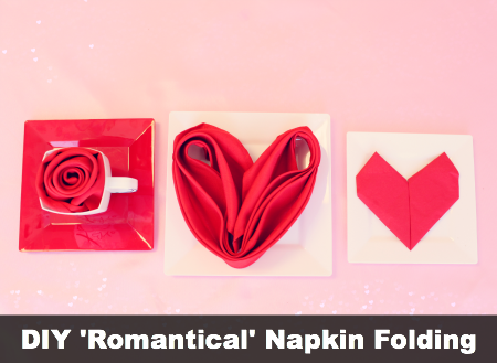 DIY Valentine's Day Romantic Napkin Folding Tutorials by #SmartyHadAParty