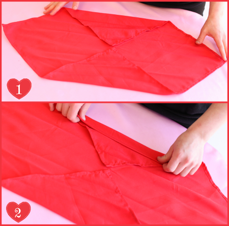 DIY Valentine's Day Romantic Heart Napkin Folding Steps 1-2 by #SmartyHadAParty