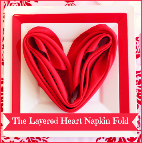 DIY Valentine's Day Romantic Heart Napkin Folding Tutorial by #SmartyHadAParty