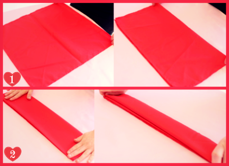 DIY Valentine's Day Romantic Rose Napkin Folding Steps 1-2 by #SmartyHadAParty