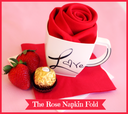 DIY Valentines Day Romantic Rose Napkin Folding Tutorial by #SmartyHadAParty