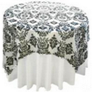 60 x 60 White Black Damask Overlay