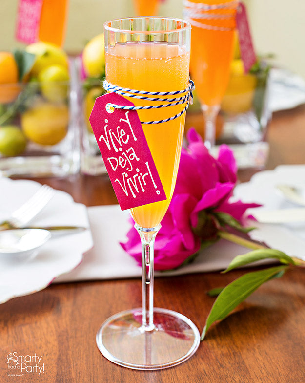 Boho style mimosa glasses! Viva y deja vivir = Live and let live. | Smarty Had A Party