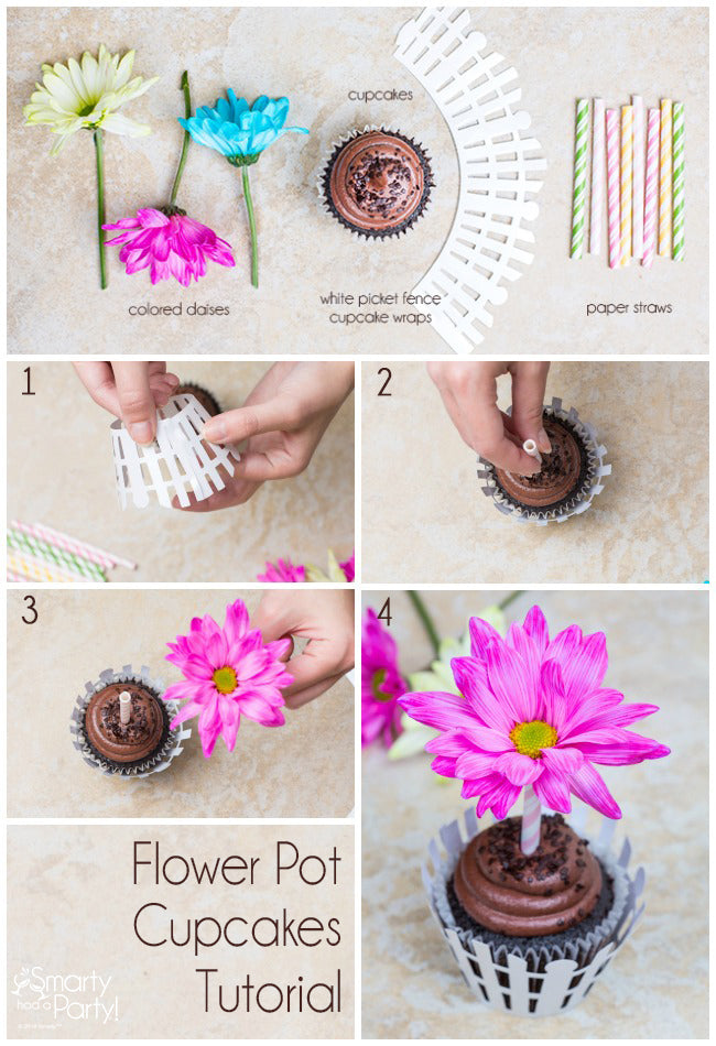 Flower Pot Cupcake Tutorial! | Smarty Had A Party
