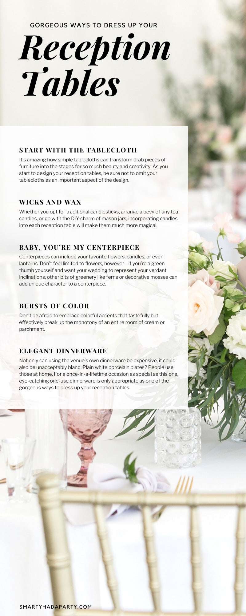 Gorgeous Ways To Dress Up Your Reception Tables