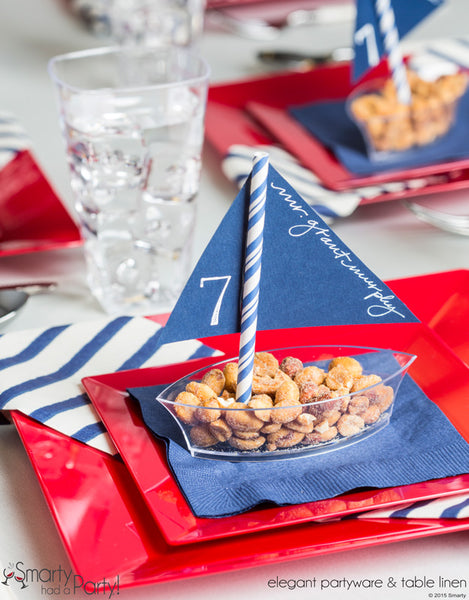 The finished placecard snack boat in a beautiful setting. | www.SmartyHadAParty.com