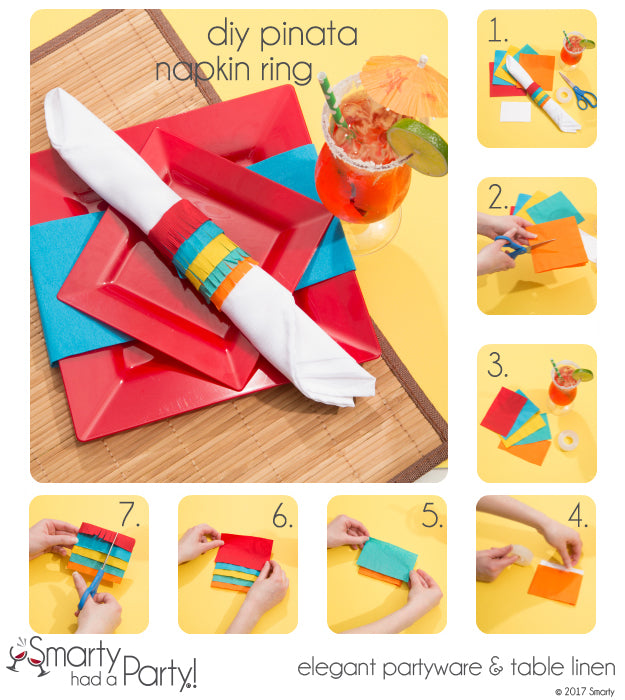 Learn how to make these DIY piñata napkin rings which are perfect for parties and Cinco De Mayo! | SmartyHadAParty.com