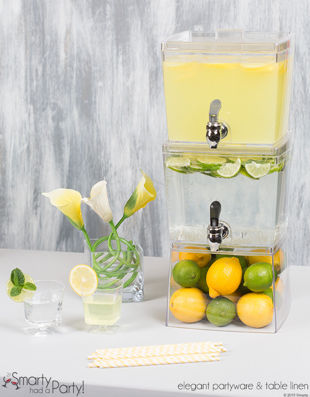 Drink stations are perfect for summer events!...Especially when you do signature drinks like hard lemonade and mojitos! | www.SmartyHadAParty.com