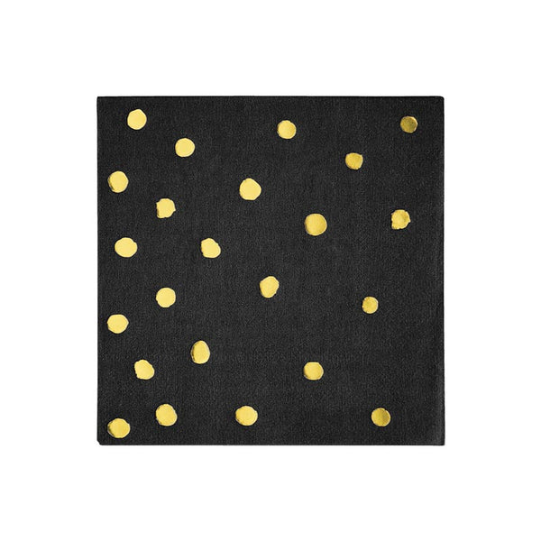 3 Ply Black With Gold Stamped Foil Dots Paper Beverage Napkins