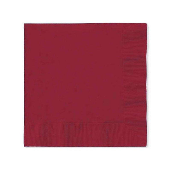 Dark Burgundy Red Disposable Paper Wedding Cocktail Napkins
