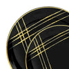 Black with Gold Brushstroke Round Disposable Plastic Dinnerware Value Set