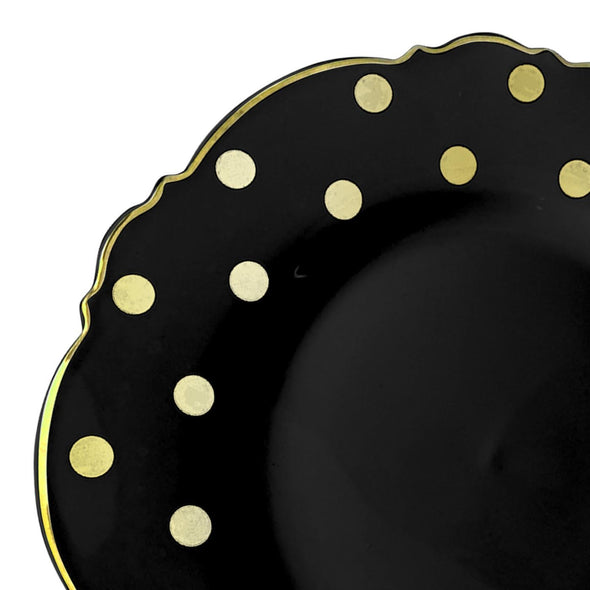 "10.25"" Black with Gold Dots Round Blossom Disposable Plastic Dinner Plates"