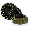 Black with Gold Dots Round Blossom Disposable Plastic Dinnerware Value Set