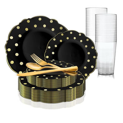 Black with Gold Dots Round Blossom Disposable Plastic Wedding Value Set