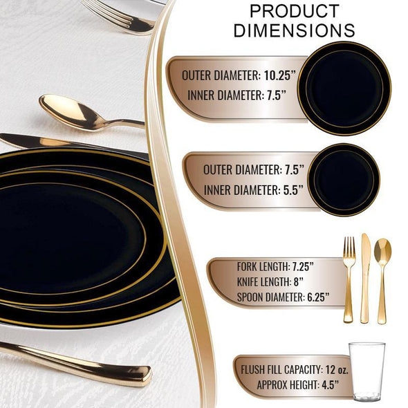 Black with Gold Edge Rim Plastic Wedding Value Set