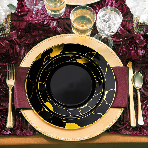 Black with Gold Marble Disposable Plastic Dinnerware Value Set