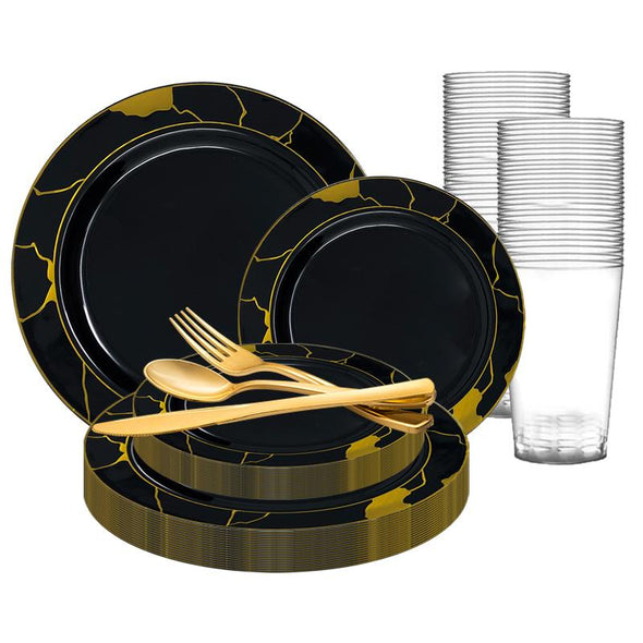 Black with Gold Marble Disposable Plastic Wedding Value Set