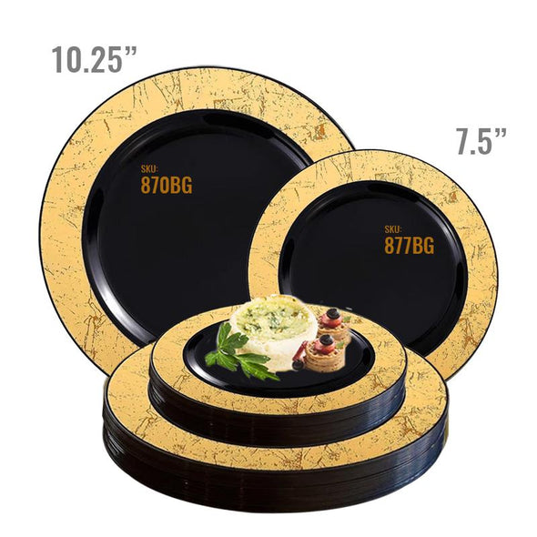 "10.25"" Black with Gold Marble Rim Disposable Plastic Dinner Plates"