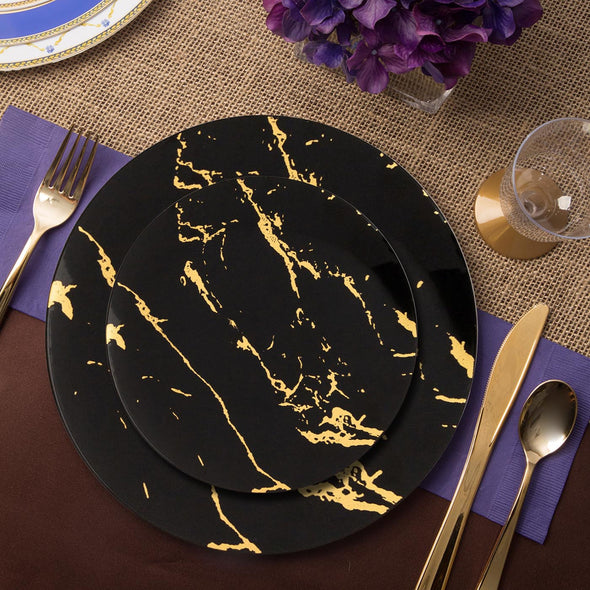 "10.25"" Black with Gold Marble Stroke Round Disposable Plastic Dinner Plates"