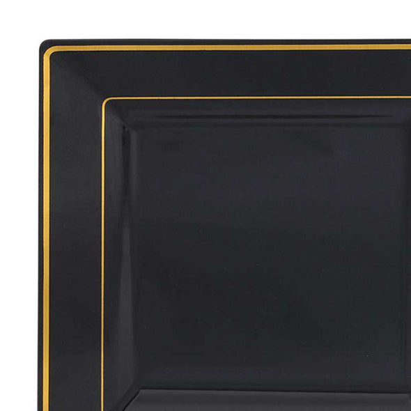 6.5 Black with Gold Square Edge Rim Plastic AppetizerSalad Plates