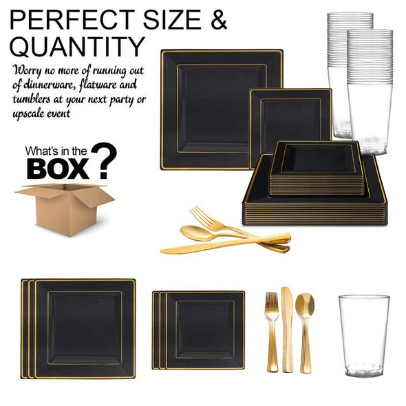Black with Gold Square Edge Rim Plastic Wedding Value Set