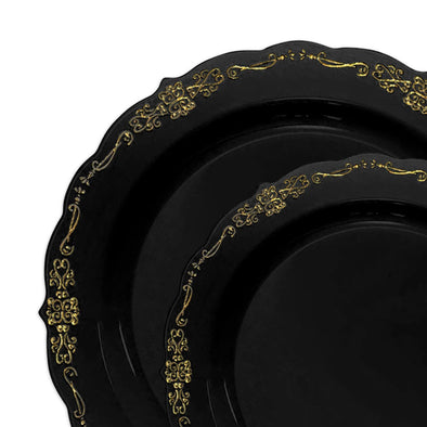 Black with Gold Vintage Rim Round Disposable Plastic Dinnerware Value Set