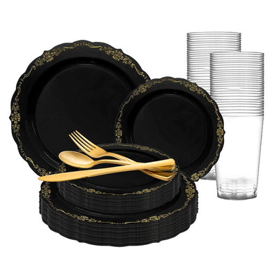 Black with Gold Vintage Rim Round Disposable Plastic Wedding Value Set