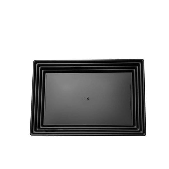 "9"" x 13"" Black Rectangular with Groove Rim Plastic Serving Trays"