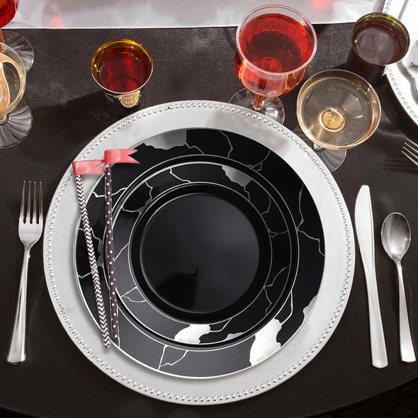 Black with Silver Marble Disposable Plastic Wedding Value Set