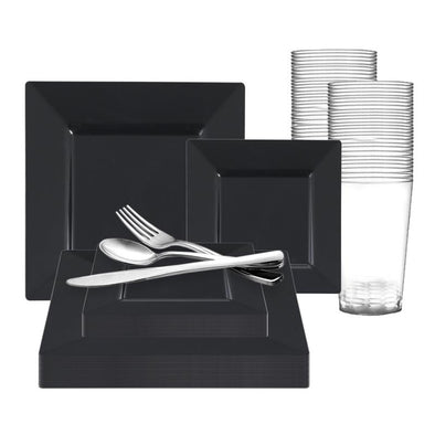 Black Square Plastic Wedding Value Set