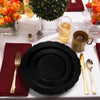 "10"" Black Vintage Rim Round Disposable Plastic Dinner Plates"