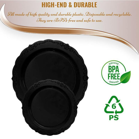 Black Vintage Rim Round Disposable Plastic Dinnerware Value Set