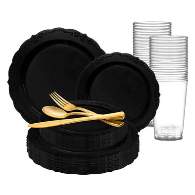 Black Vintage Rim Round Disposable Plastic Wedding Value Set
