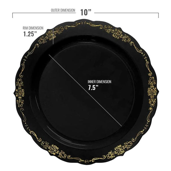 "10"" Black with Gold Vintage Rim Round Disposable Plastic Dinner Plates"