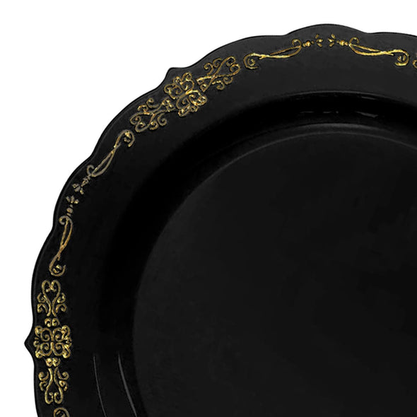 10 Black with Gold Vintage Rim Round Disposable Plastic Dinner Plates
