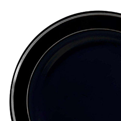 7.5 Black with Silver Edge Rim Plastic AppetizerSalad Plates