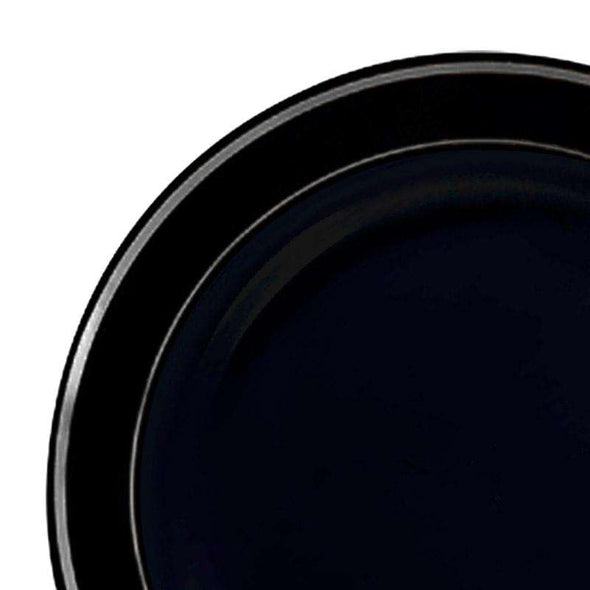 10.25 Black with Silver Edge Rim Plastic Dinner Plates