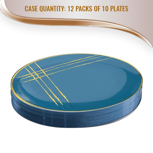 "7.5"" Blue with Gold Brushstroke Round Disposable Plastic Appetizer/Salad Plates"