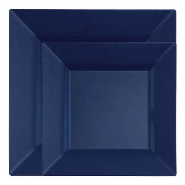 Blue Square Plastic Dinnerware Value Set