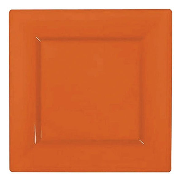 "6.5"" Burnt Orange Square Plastic Cake Plates"