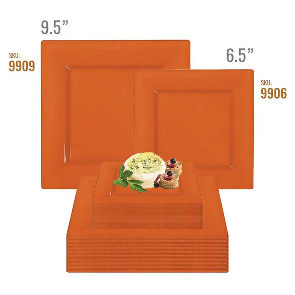 Burnt Orange Square Plastic Plates Dinnerware Value Set